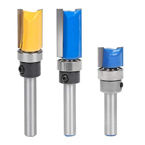 WiMas 3 STÜCKE 1/4 Zoll Kopierfräser, Tungsten Carbide Tipped Router Bit Set, Top Lager Holzbearbeitung Fräswerkzeuge