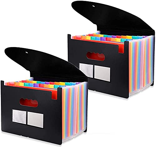 24 Pockets Expanding File Folder with Cover Accordian File Organizer Portable A4 Letter Size File Box,High Capacity Plastic Colored Paper Document Organizer Filing Folder Organizer(2 Pack)