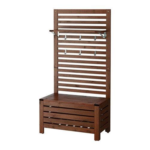 IKEA 42020.52314.210 Bank mit Wandpaneel und Regal, Outdoor, braun gebeizt