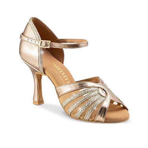 Rummos Mujeres Zapatos de Baile R563 147-137 - Material: Cuero/Brillante - Color: Platino - Anchura: Normal - Tacón: 70R Flare - Talla: EUR 37