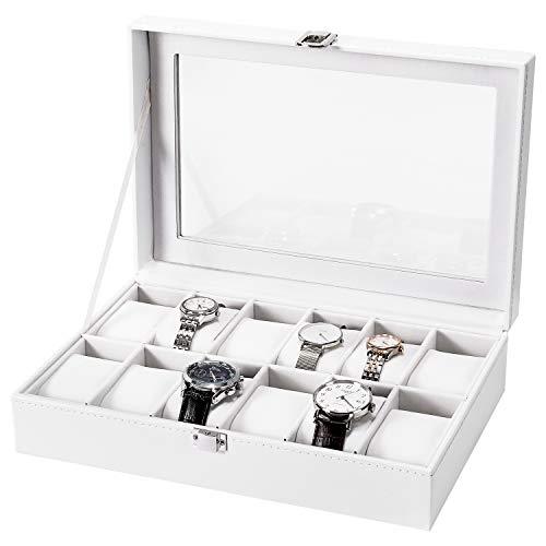 Nisear Uhrenbox mit 12 Fächern, Uhrenkoffer Uhrenkasten aus PU Leder, Uhren Aufbewahrungsbox mit Glasdeckel & Uhrenkisse (Weiß)