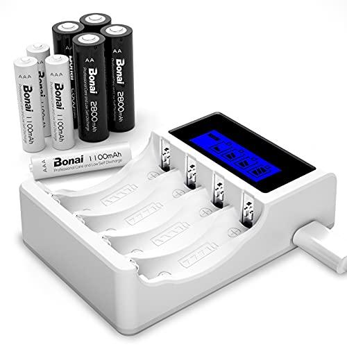 BONAI LCD Cargador de Pilas Recargables, 4 Piezas de AA 2800mAh & 4 Piezas de AAA 1100mAh Ni-MH Baterías Recargables con 4 Bay AA AAA Cargador de Batería