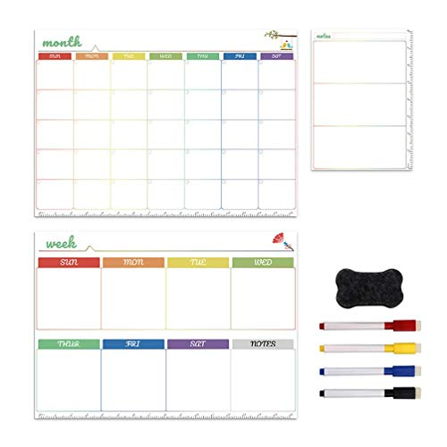 Lowral Magnetic White Board Kit Daily Weekly Monthly Planner Calendar Fridge Magnet Drawing Pen Erase