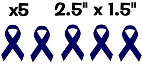 Amazon Com X5 Five Individual Colon Mesothelioma Cancer Ribbon Blue Pack Vinyl Decal Stickers 2 5 X 1 5