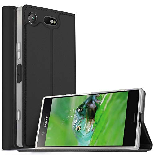 Verco Handyhülle für Xperia XZ1 Compact, Premium Handy Flip Cover für Sony Xperia XZ1 Compact Hülle [integr. Magnet] Book Hülle PU Leder Tasche, Schwarz