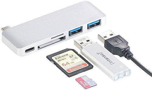 Xystec USBC-Hub: USB-C-Hub mit 2X USB 3.0, microSD- & SD-Cardreader, PD, für MacBook (Kartenleser im USB-Hub)