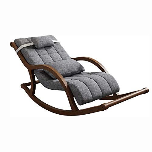 Sillón Mecedora Relax Simple de madera maciza mecedora, silla del ocio Siesta, sillón, sofá perezoso Inicio Silla, diseño ergonómico, anticorrosión y durable, a prueba de aceite y cojín de terciopelo