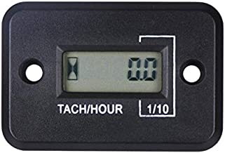 1P1R Digital Waterproof Inductive LCD RPM Hour Meter Tachometer for Small Gasoline Engines,Motorcycle,Lawn Mower,Boat,Marine,Jet Ski,Glider,Generator,Chainsaw