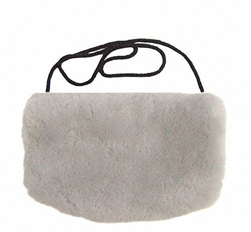 Warmer Lammfell Pelzmuff hellgrau mit Reißverschlusstasche waschbar, geschorenes Lammfell, ca. 29,5x19 cm