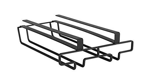 Wenko Schrankeinsatz Gläserhalter - Schrankeinhänger Küche für 6 Gläser, Metall, 20 x 7 x 28 cm, schwarz