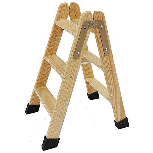 Escaleras Tijera de Madera Pino Doble Subida Certificadas. Ideal para Profesionales Pintor, Escayolista, Electricista o hasta para su hogar! (3 Peldaños) 🔥