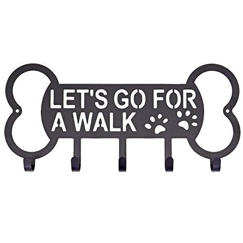 Yubingqin Gancho de metal para correa de perro, correa de perro, soporte de pared con clavo gratis para colgar en cuero y nailon para mascotas (color: hueso)