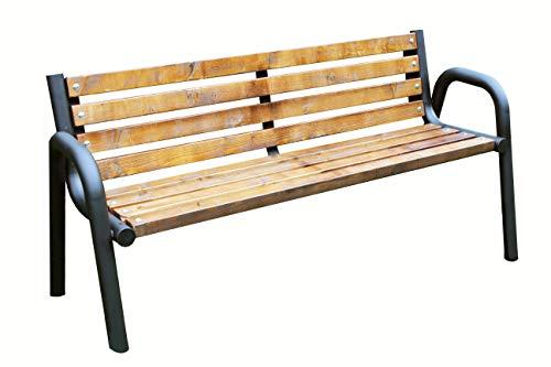 Sitzbank für Garten, Vorgarten, Stadt, Dorf, Gemeinde, Massiv und Robust, Holz Metall, Wetterfest, Stabil, Eigenmontage, Einfach und Schnell (Primario Eiche 150cm)