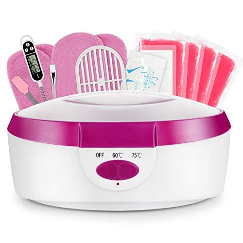 AYITOO Baño de parafina para manos y pies con accesorios, baño de cera eléctrico con cera de parafina, baño de cera de parafina, baño de cera para manos y pies, dispositivo de 265 W, color rosa