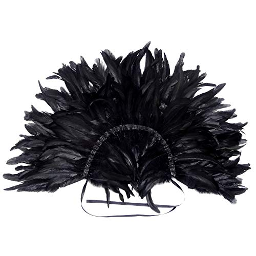 L/'vow Men/' Gothic Natural Feather Shrug Shawl Cape Stole Collar Halloween...