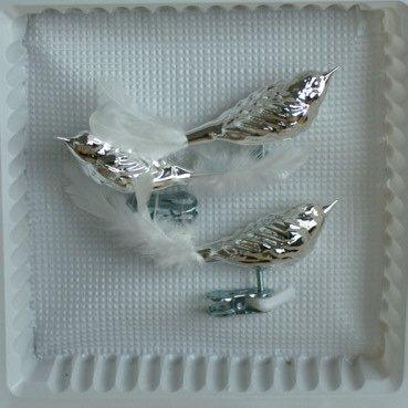 Vögel mit Federschwanz silber glanz 3 Stück Christbaumschmuck Weihnachtsbaumschmuck mundgeblasen Lauschaer Glas das Original