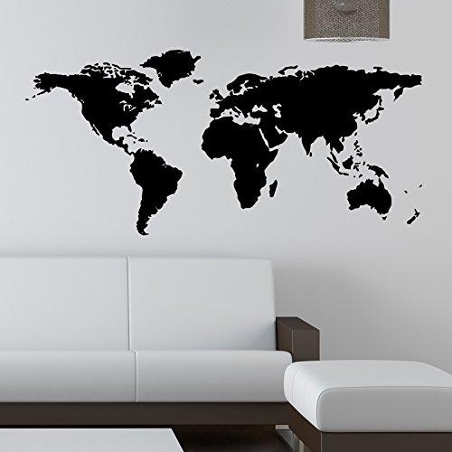 Autocollants muraux Motif carte du monde, Vinyle, noir, Medium 90 cm x 45 cm