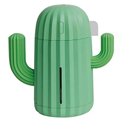 M/W Humidificador sin Ruido con función de Apagado automático 340 ml Cactus USB Humidificador de Aire Lámpara LED Difusor de Aceite de aromaterapia Adecuado para su hogar y Oficina (Verde)
