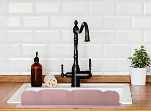 Eco-Friendly Premium Silicone Sink Water Splash Guard for Kitchen & Bathroom - Easy to Clean & Install Kitchen Gadget - Modern Design & Soft Shade Colors (Pink)