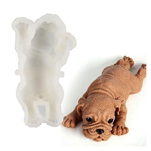 Egurs Molde de silicona en 3D con forma de perro Shar Pei Perro Mops para tartas, fondant, chocolate, mousse, decoración, 15 cm