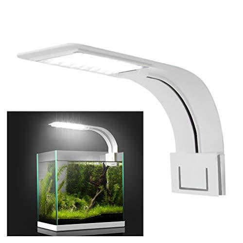 Kenyaw Led Aquarium Licht, Clip-On Aquarium Lampe Mit Weiß Und Blau Licht, 10W Led Aquarienleuchte, 24Leds Fische Tank Beleuchtung Aufsetzleuchte(Weiß)