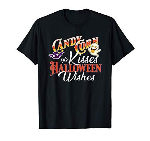 Candy Corn Kisses Halloween Wishes Cute Novelty Ghost Bat Camiseta
