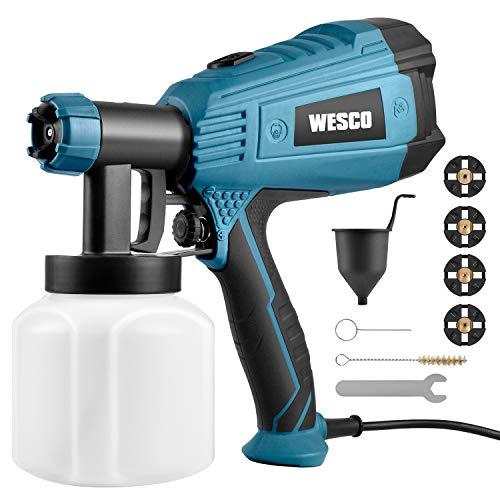 Farbsprühsysteme, WESCO 500W Elektrisches Farbspritzpistole mit 3 Düsen (1,5/1,8/2,0 mm) und 3 Spritzmuster für Lacke uund Lasuren, Farbmengenregulierung