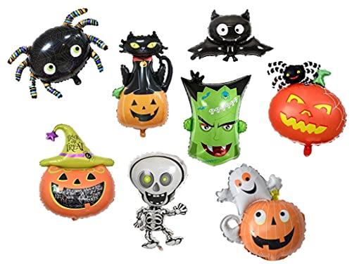 Globos Halloween Paquete de 8 Globos de aluminio, Calabaza, Araña, Murciélago, Frankie, Calabaza Truco , Esqueleto, Calabaza fantasma , Calabaza gato,