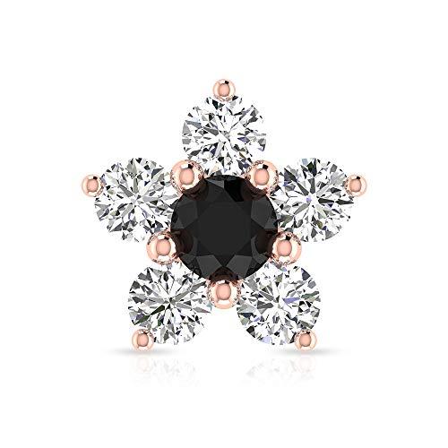 Pendiente de cartílago de diamante negro, certificado SGL 0,66 ct, diseño de flor de diamante, joyería del cuerpo, caracola de hélice, Rose Gold Push Back 8mm
