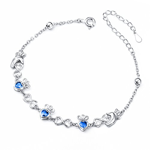 S925 Sterling Silver Adjustable Irish Celtic Claddagh Love, Blue, Size No Size