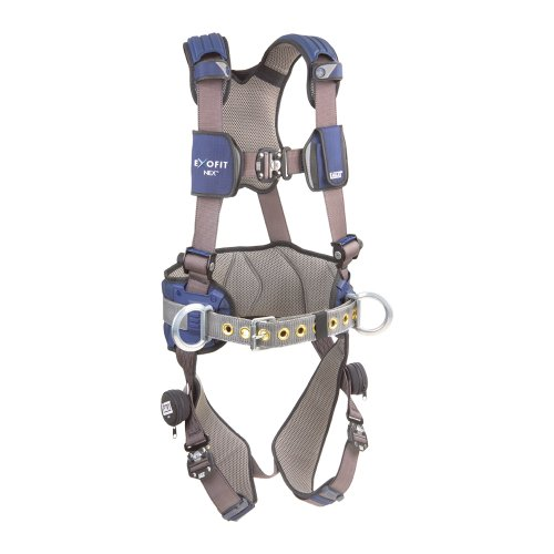 3M DBI-SALA Medium ExoFit NEX ConstructionFull Body Style Harness With Tech-Lite Aluminum Back D-Ring,1113124,Blue/Gray