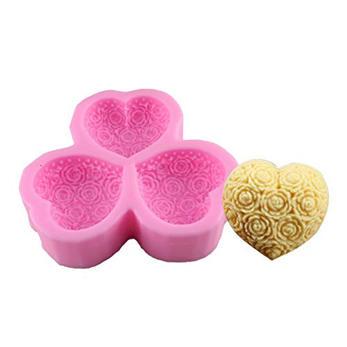 Lembeauty, stampo in silicone a forma di cuore con rose, per sapone, budino, fondente, torte, cioccolato, spose e sposi (colore casuale) E