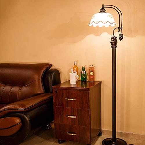 Lámpara de pie de hierro forjado, estudio de cabecera, lámpara de cristal de mesa vertical retro