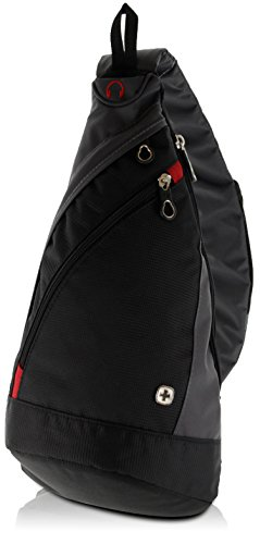 WENGER Premium Slingbag para hombres y mujeres, 10 L, Mochila Shoulder bag en negro / gris con forro interior gris