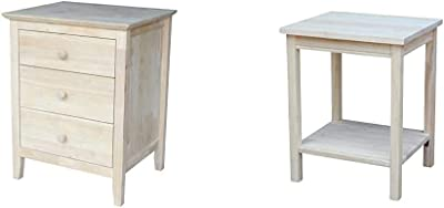 International Concepts Nightstand with 3 Drawers, Standard & Accent Table, 14 L x 16 W x 20 H inches, Unfinished