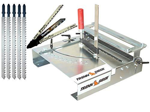 Trenn-Biber 012LK Bundle -5 + Sägeblätter von Metabo Bosch Makita +5 lange T-Schaft Stichsägeblätter für Stichsägen - Sägetisch als Laminatschneider