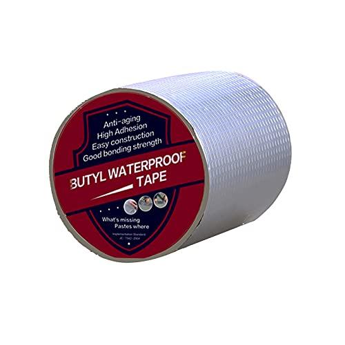 Bosuya Cinta adhesiva de butilo, resistente al agua, de aluminio, autoadhesiva, gruesa, para reparación de fugas de techos, huecos de ventanas, rotura de tubos (10 cm x 1,2 mm x 5 m)