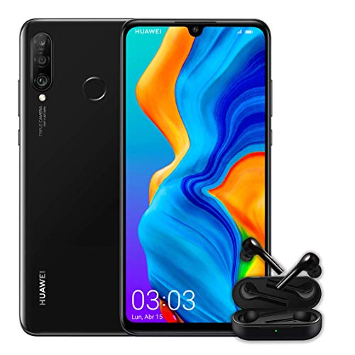 "Huawei P30 Lite + Huawei Free Buds -Smartphone de 6.15"" (WiFi, Kirin 710, RAM de 4 GB, Memoria Interna de 128 GB, Cámara de 48 + 2 + 8 MP, Android 9), Negro"
