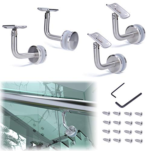 Muzata Adjustable Handrail Brackets for Stair Staircase Round Top Glass Railing System 4Pack,T304 Stainless Steel HB06,GR1 SL4 HR6
