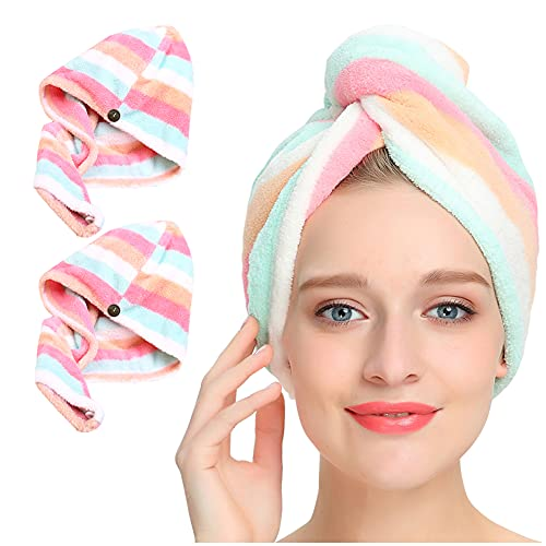 Microfiber Hair Towel 2Pack, AuroTrends Hair Towel Wrap for Women/Kids- Super Absorbent Soft...