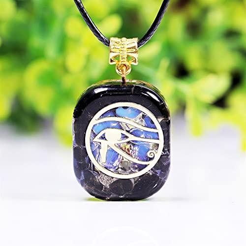 KAUG Colección Ojo de Horus Collar Orgone Colgante Egipto Antiguo Wedjat Ojo de RA Horus Símbolo de Protección Mens 'Amuleto Protector