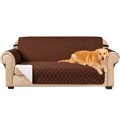subrtex Gesteppt Sofabezug Reversibel Möbelschutz mit Gummiband Stuhlüberzüge für Wohnzimmer Sessel Schonbezüge Möbelschoner für Sofas(3 Sitzer, Kaffee)