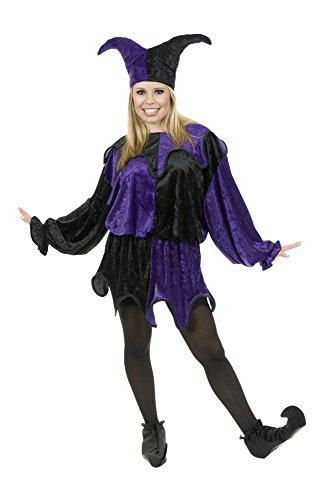 Charades unisex adult Crushed Panne Jester Sized Costumes, Black/Purple, X-Large US
