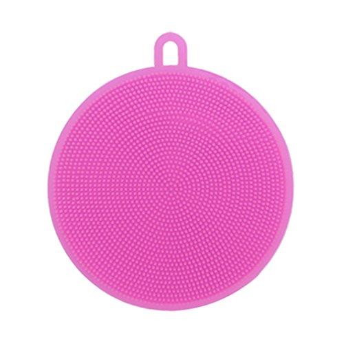 Herramienta para la limpieza del cepillo para el lavado de platos de forma redonda de silicona alimentaria multifunción (rosa)