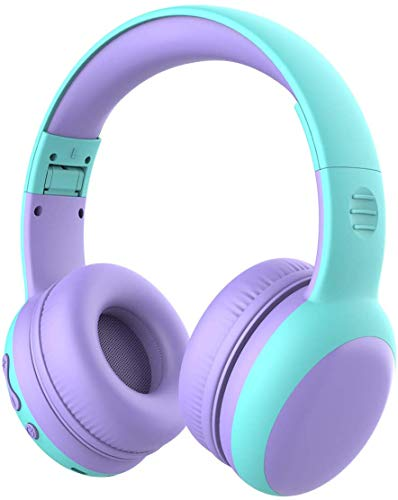 gorsun Bluetooth Kids Headphones with Microphone,Children's Wireless Headsets with 85dB Volume Limited Hearing Protection,Stereo Over-Ear Headphones for Boys and Girls (Purple)