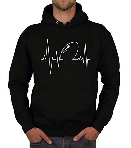 shirtdepartment - Herren T-Shirts & Hoodies - American Football - Herzfrequenz - EIN Herzschlag wie beim Touchdown! schwarz-Hoodie 5XL