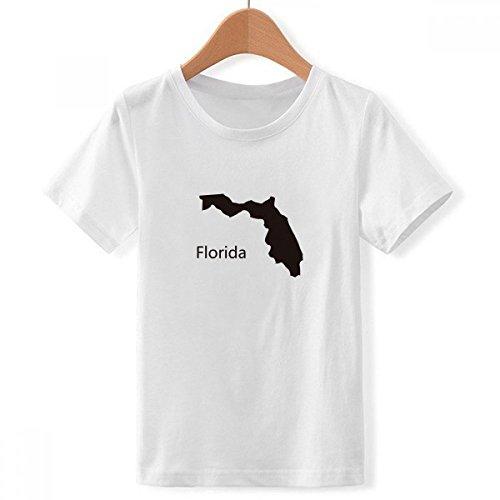 DIYthinker jongens Florida Amerika USA kaart silhouet met ronde hals wit T-shirt
