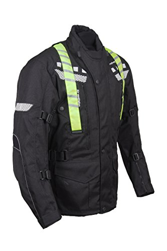 Preisvergleich Produktbild ROLEFF RACEWEAR RO773 lange Textil Motorradjacke mit abnehmbarer Neon-Weste,  schwarz,  Größe XXL