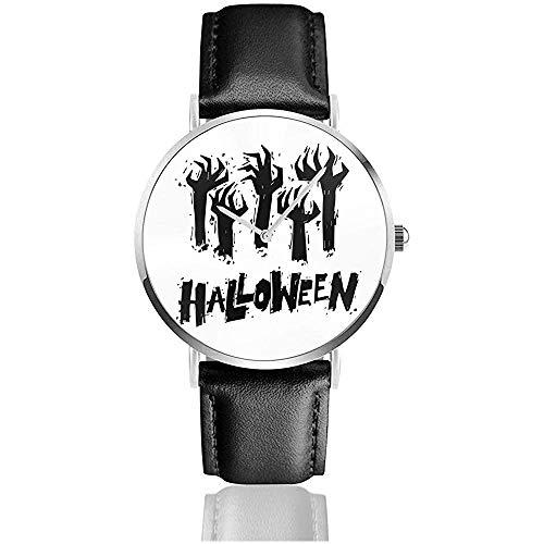 Happy Halloween Poster, Banner, Flyer. Hand, die aus dem Boden herausragt. Herren Sport Armbanduhr Leder Armbanduhr