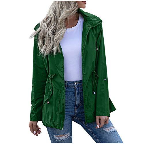NaRHbrg Women's Waterproof Raincoat Zipper Mid Length Raincoat Rainwear Outdoor Rain Jacket Hooded Active Windbreaker Green